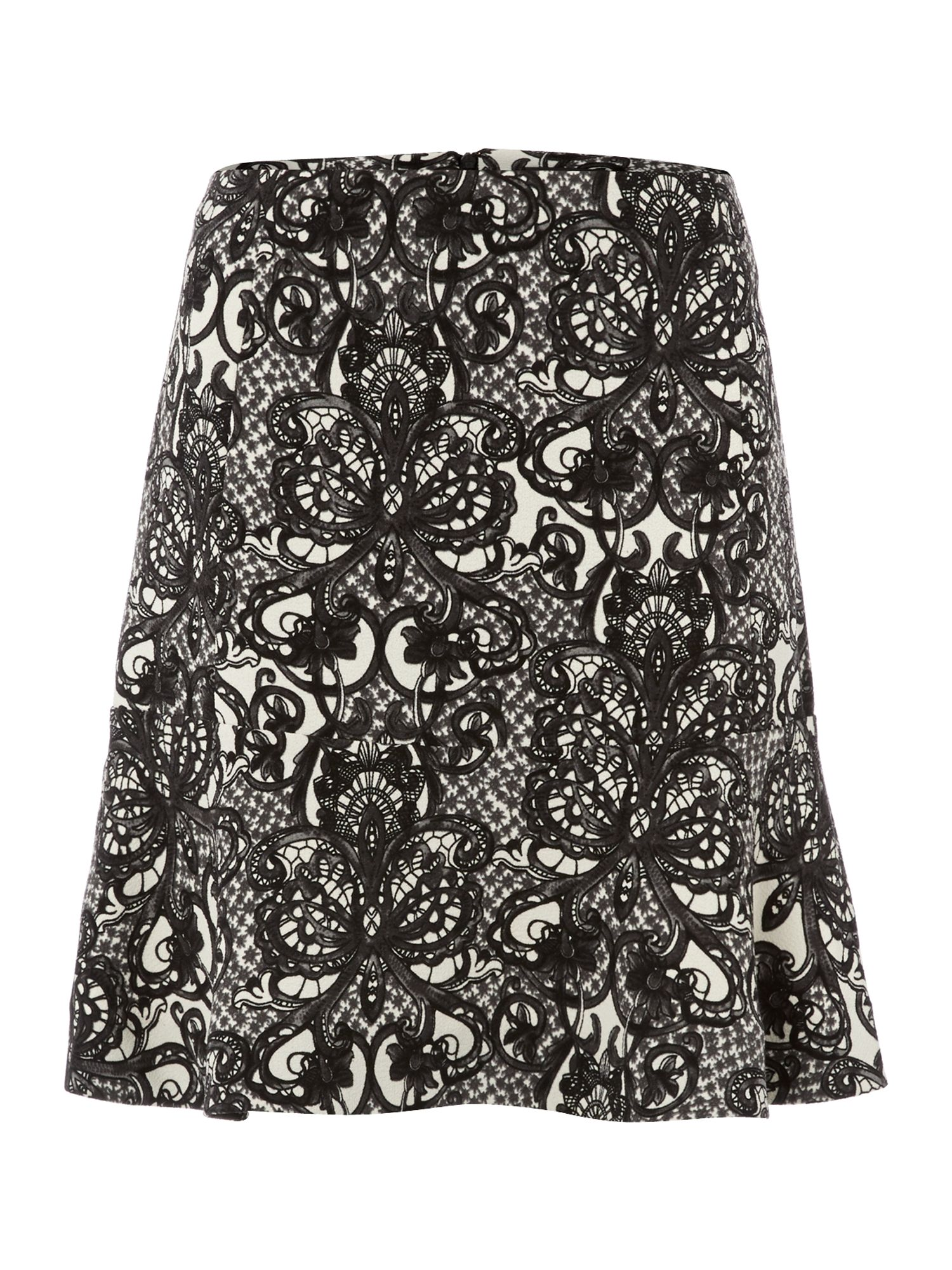 Lace printed crepe skirt