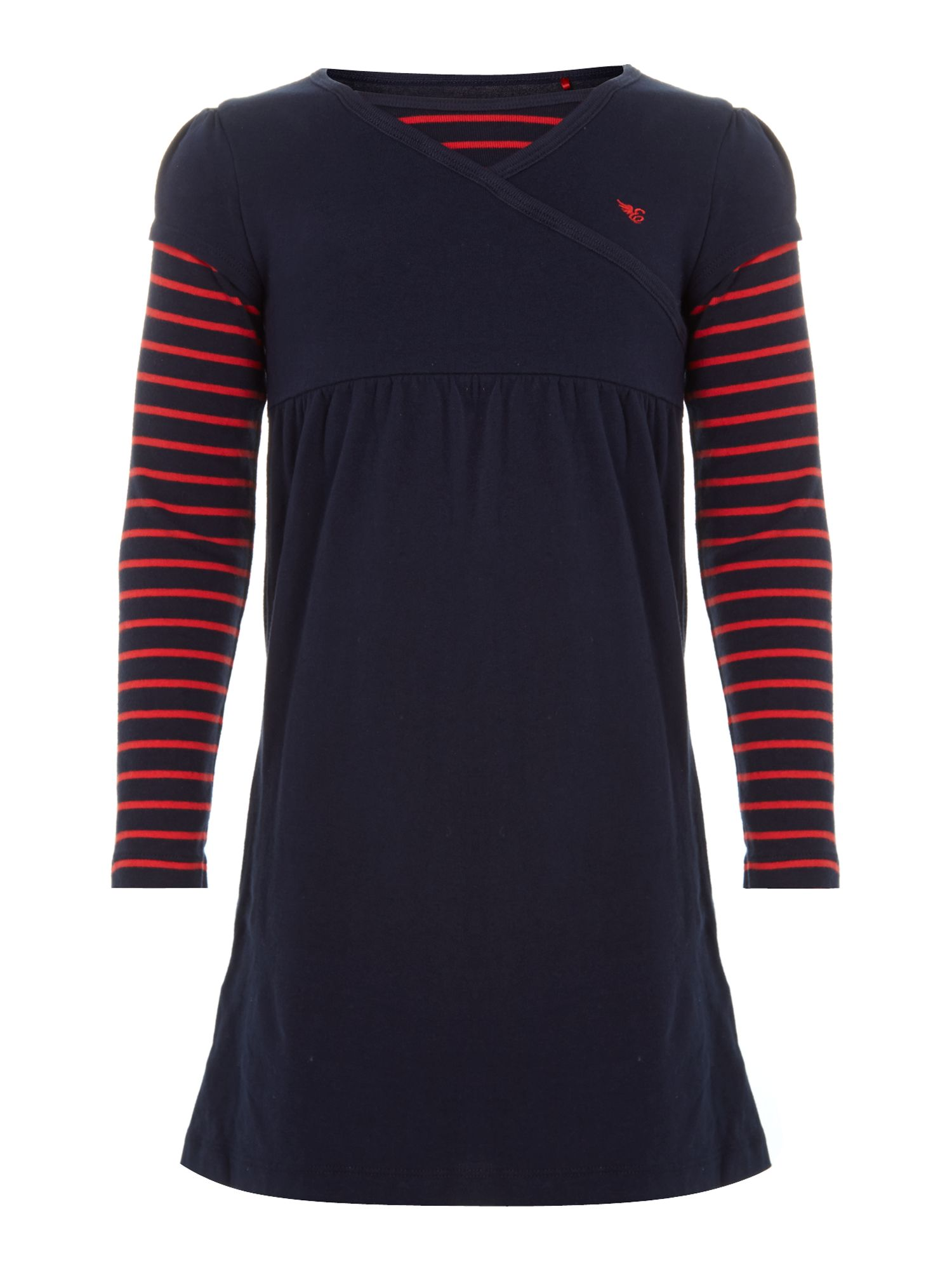 Girl`s stripe sleeve dress