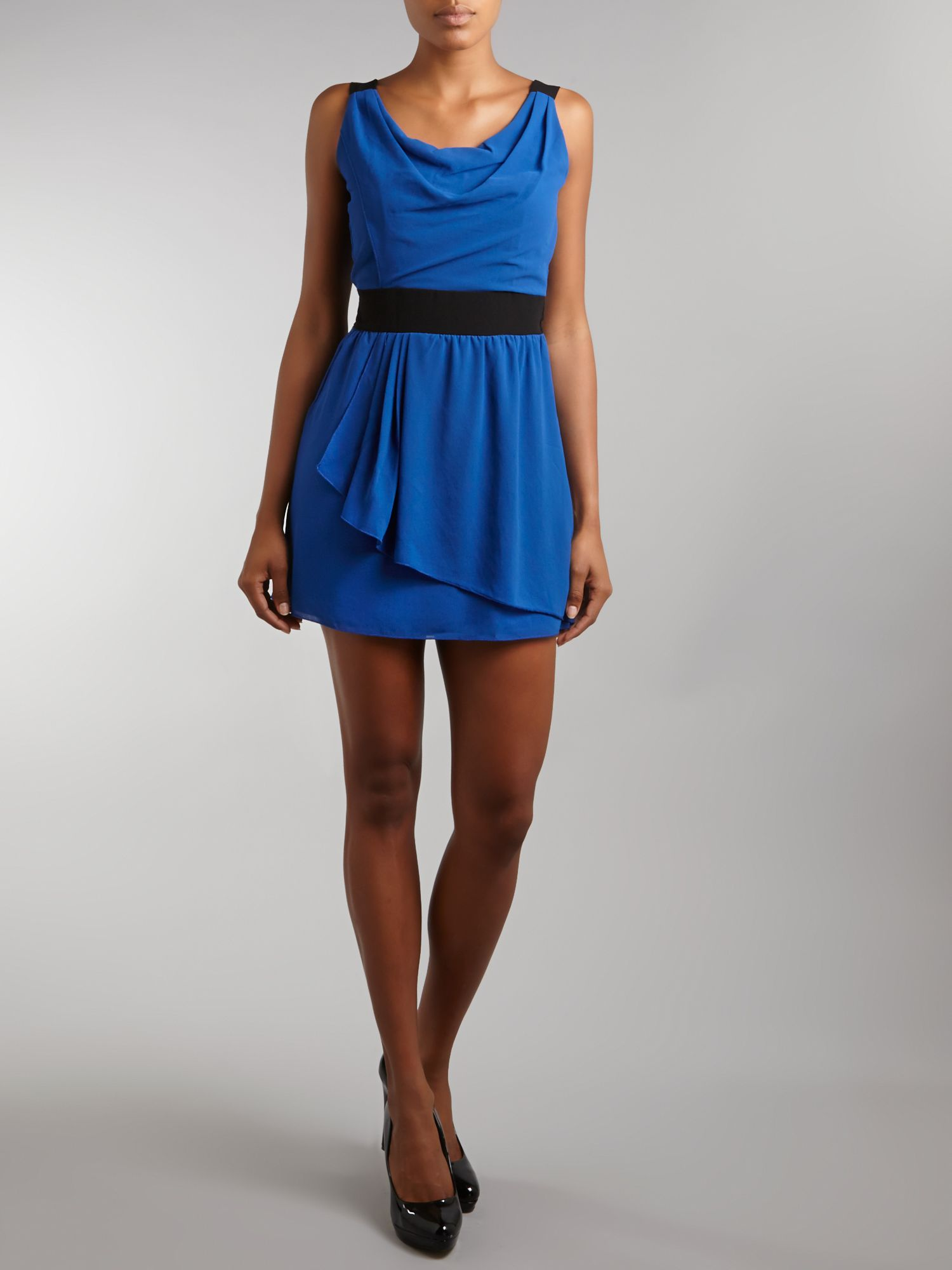 Cowl neck wrap mini dress