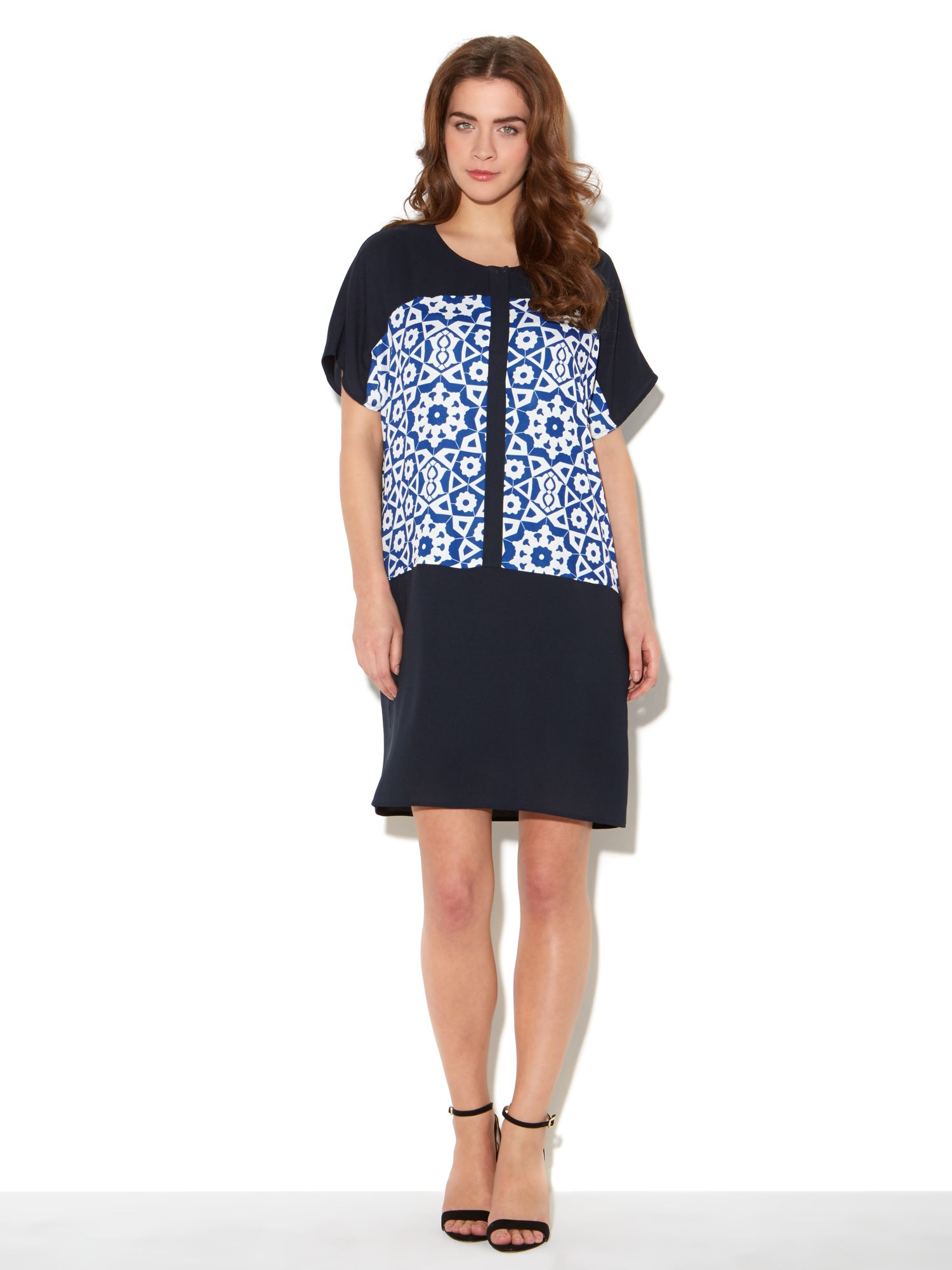 Print block placket dress