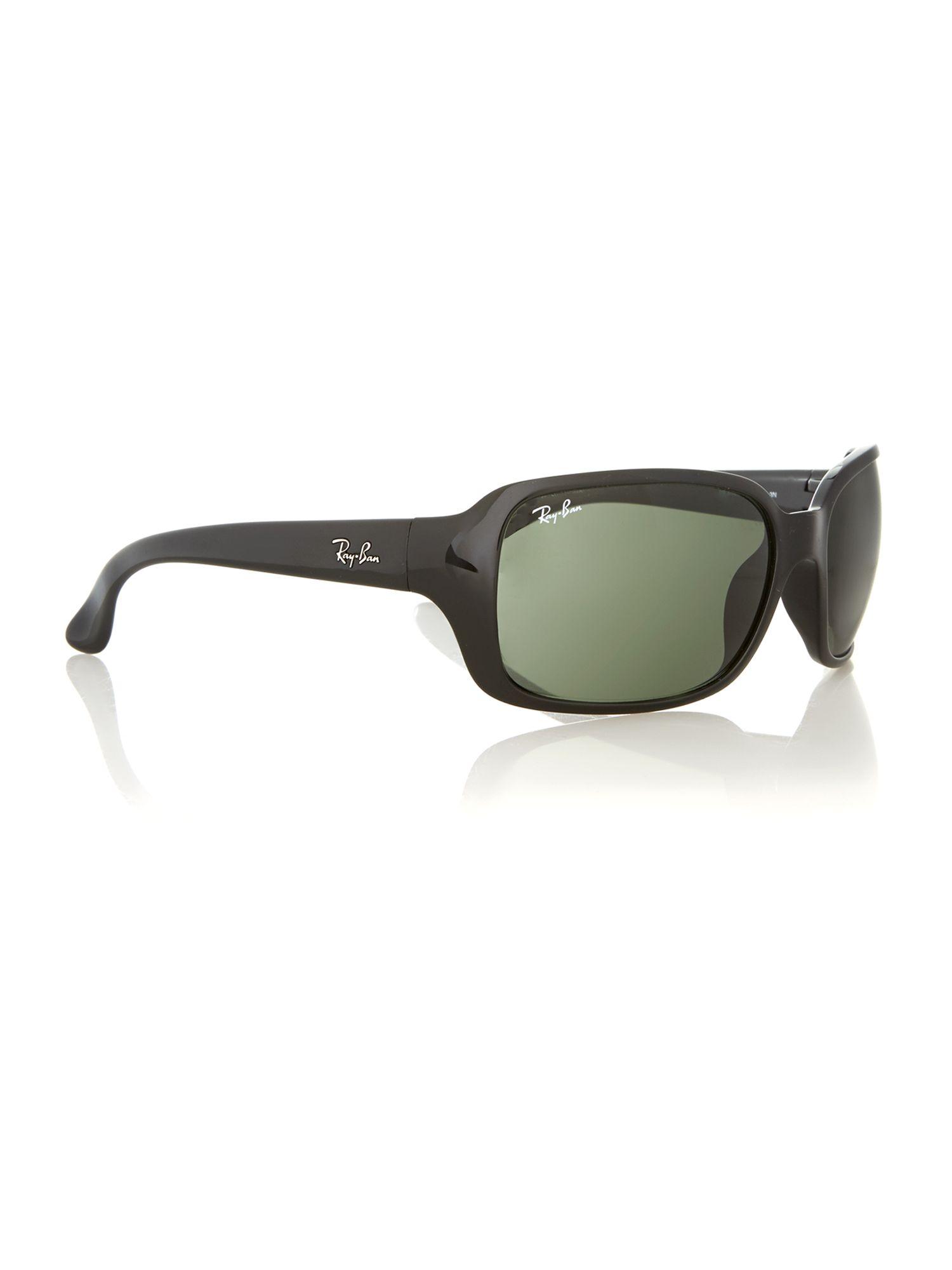 Unisex black rectangular sunglasses