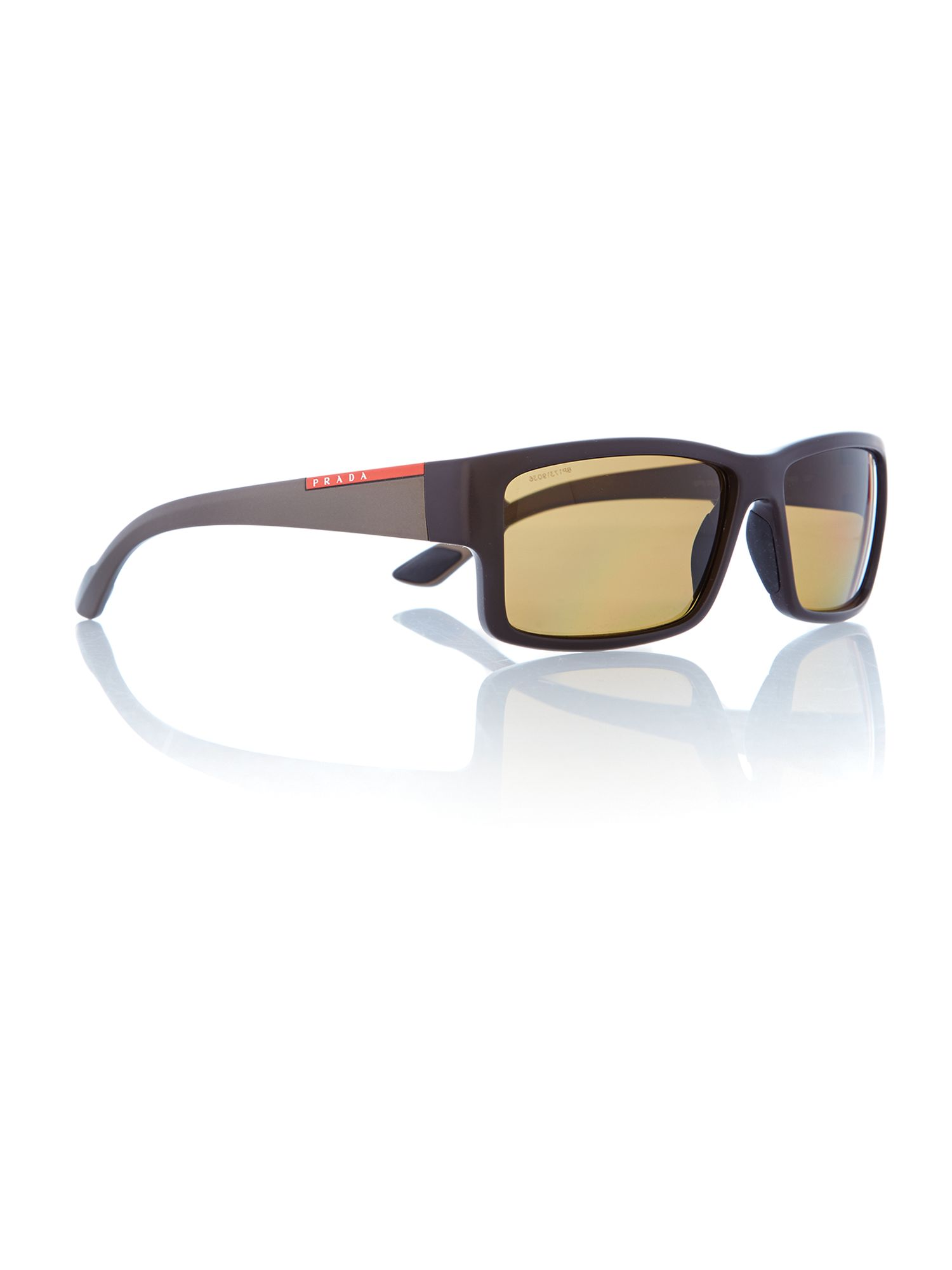 Mens Brown Rectangular Sunglasses