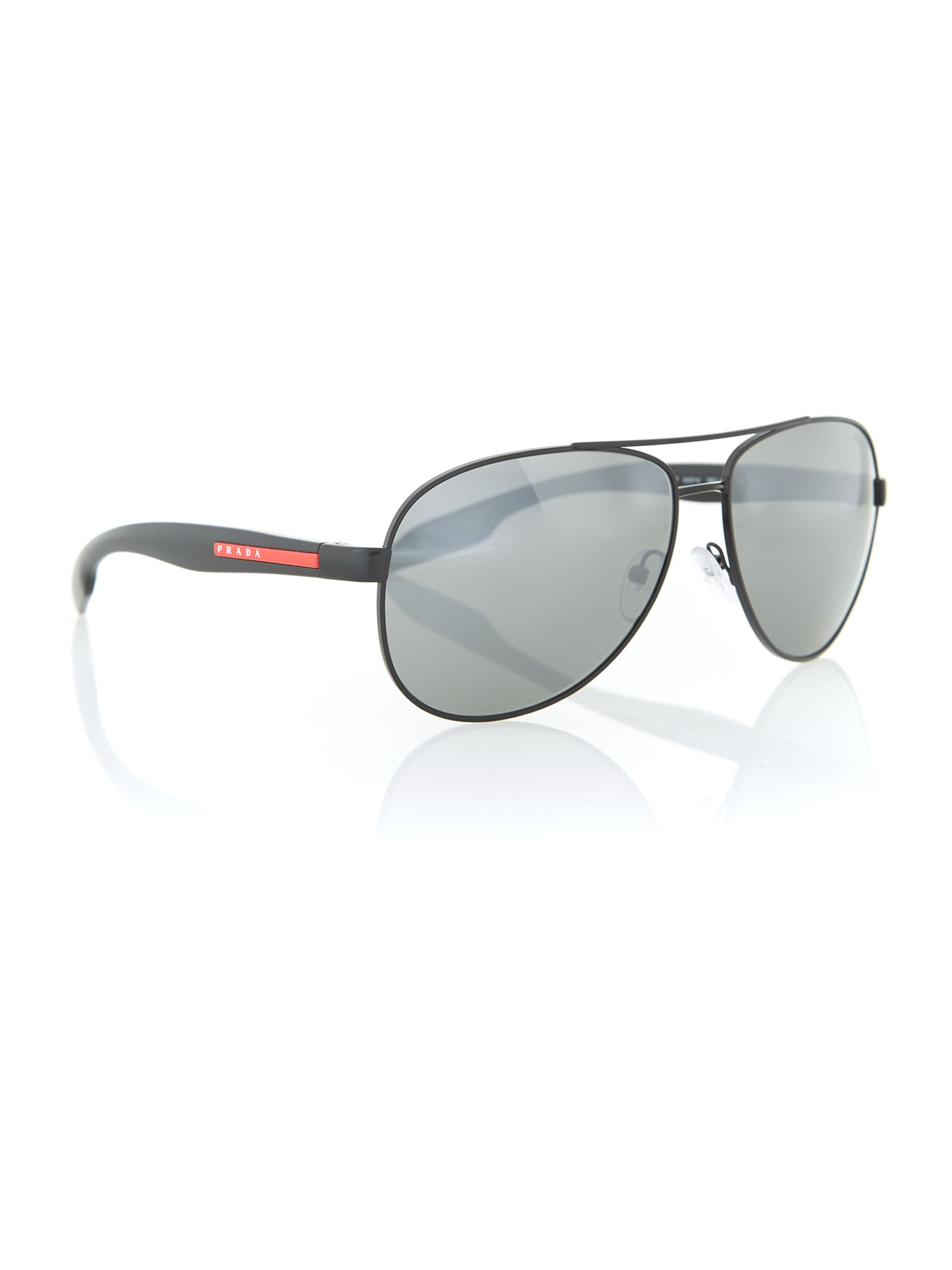 Prada Linea Rossa Mens Shiny Black Aviator Sunglasses