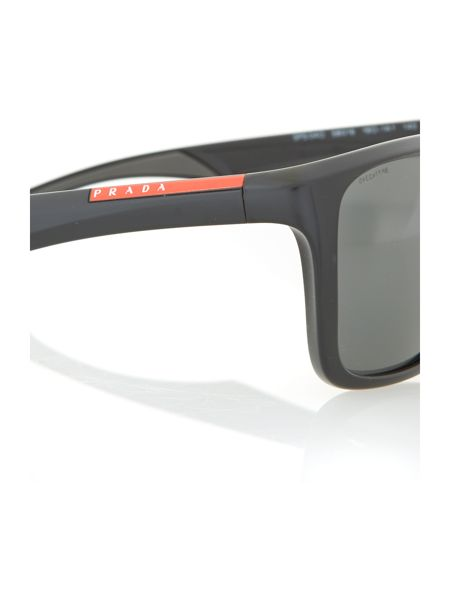 Prada Linea Rossa Mens Shiny Black Square Sunglasses
