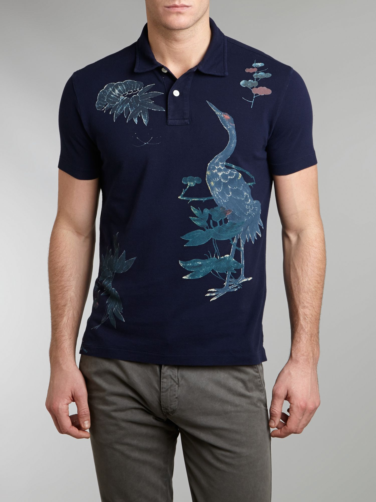 Bird print polo shirt