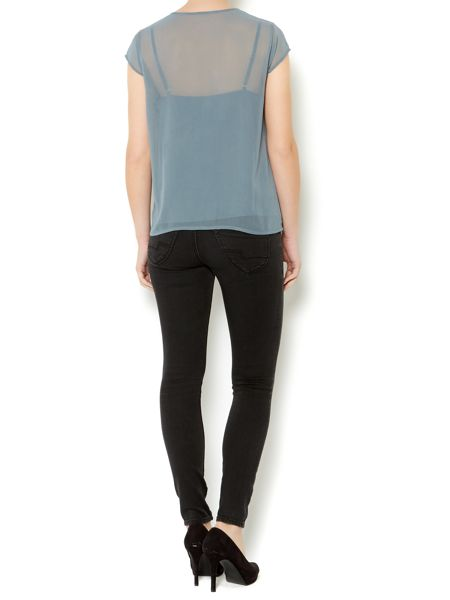 Linea Weekend Metallic embroidered blouse with cami