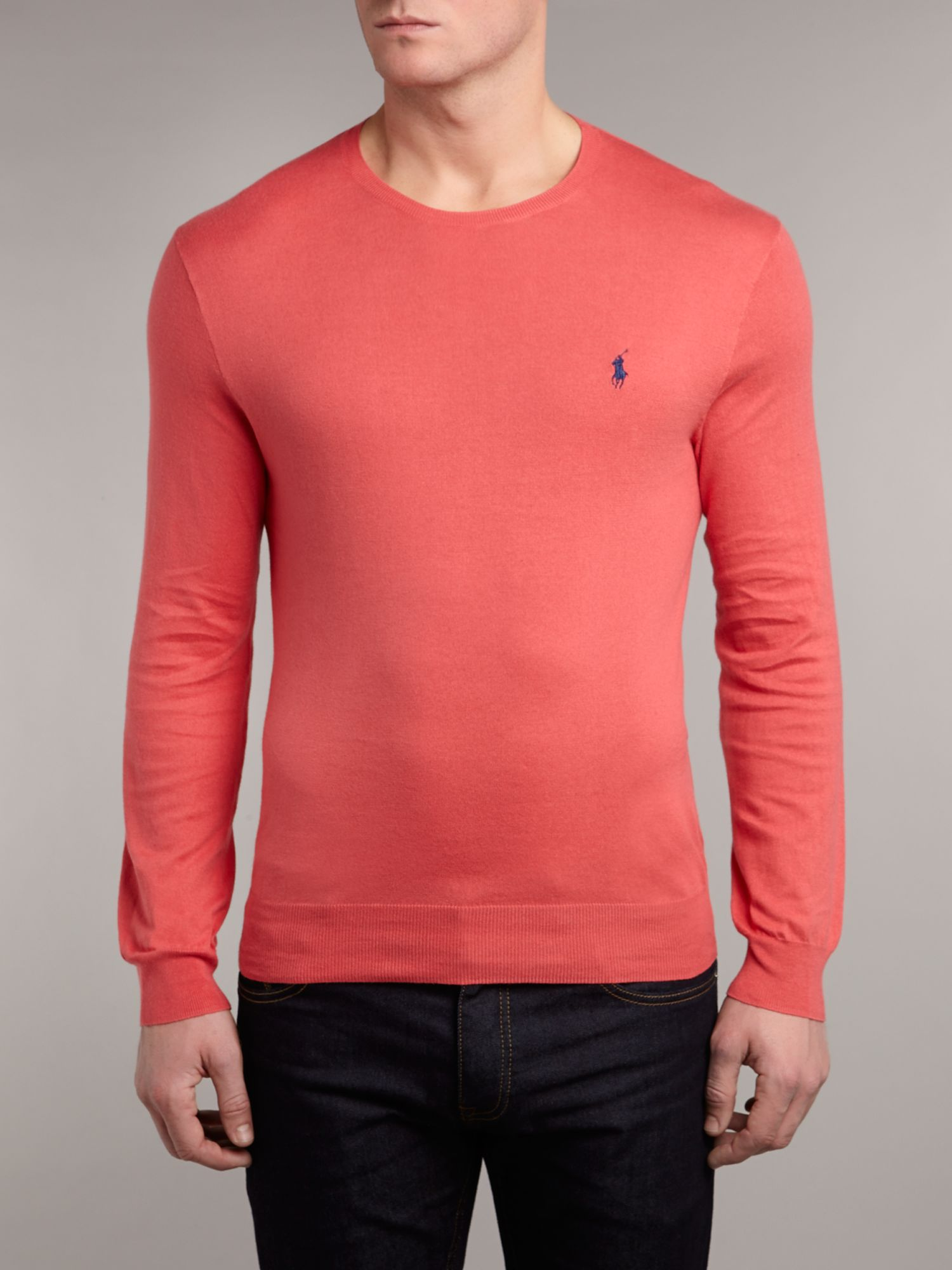 Pima cotton slim fit crew neck jumper