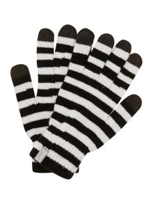 Stripe knit touch screen gloves