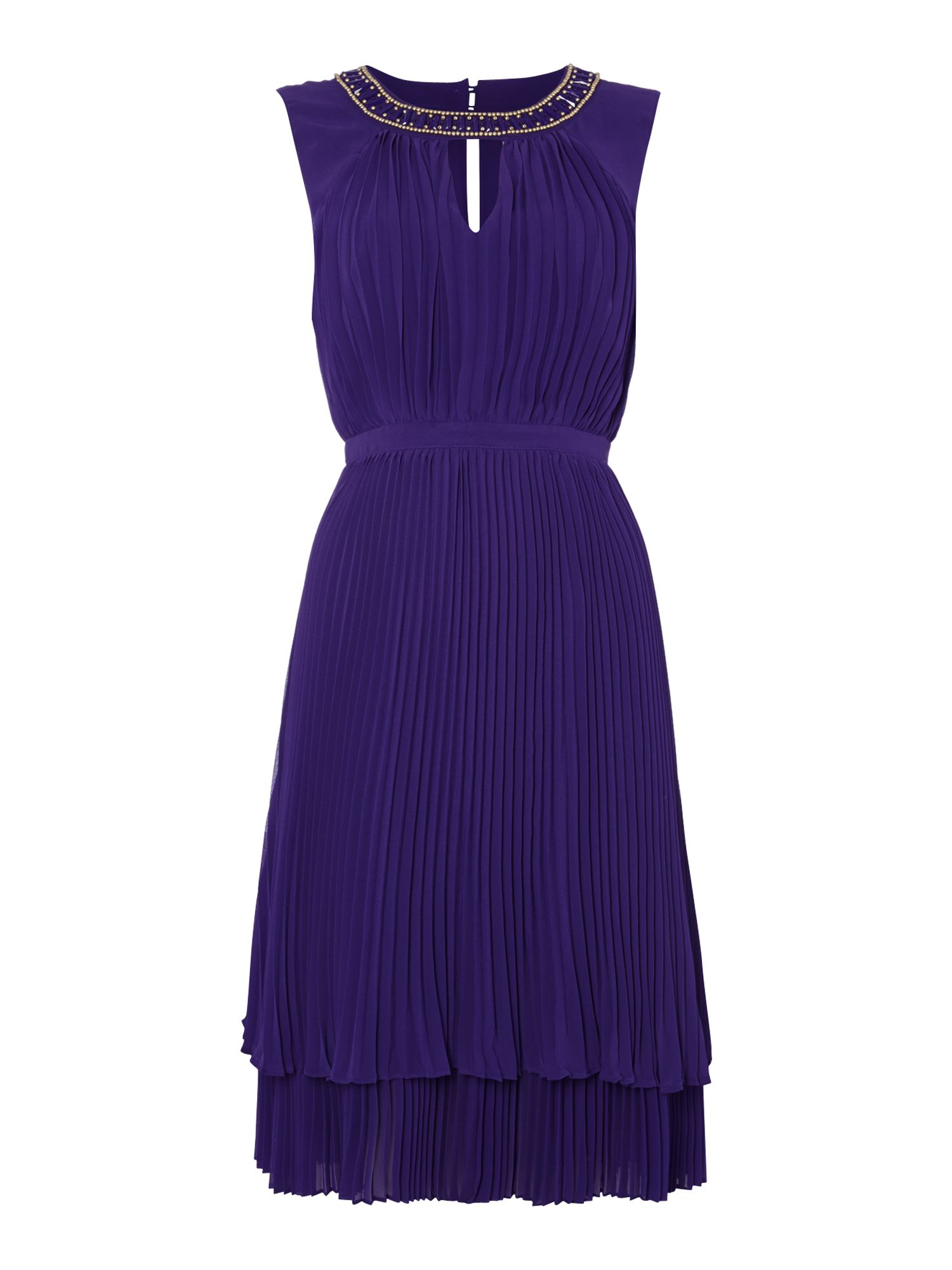 Pleated double layer chiffon dress