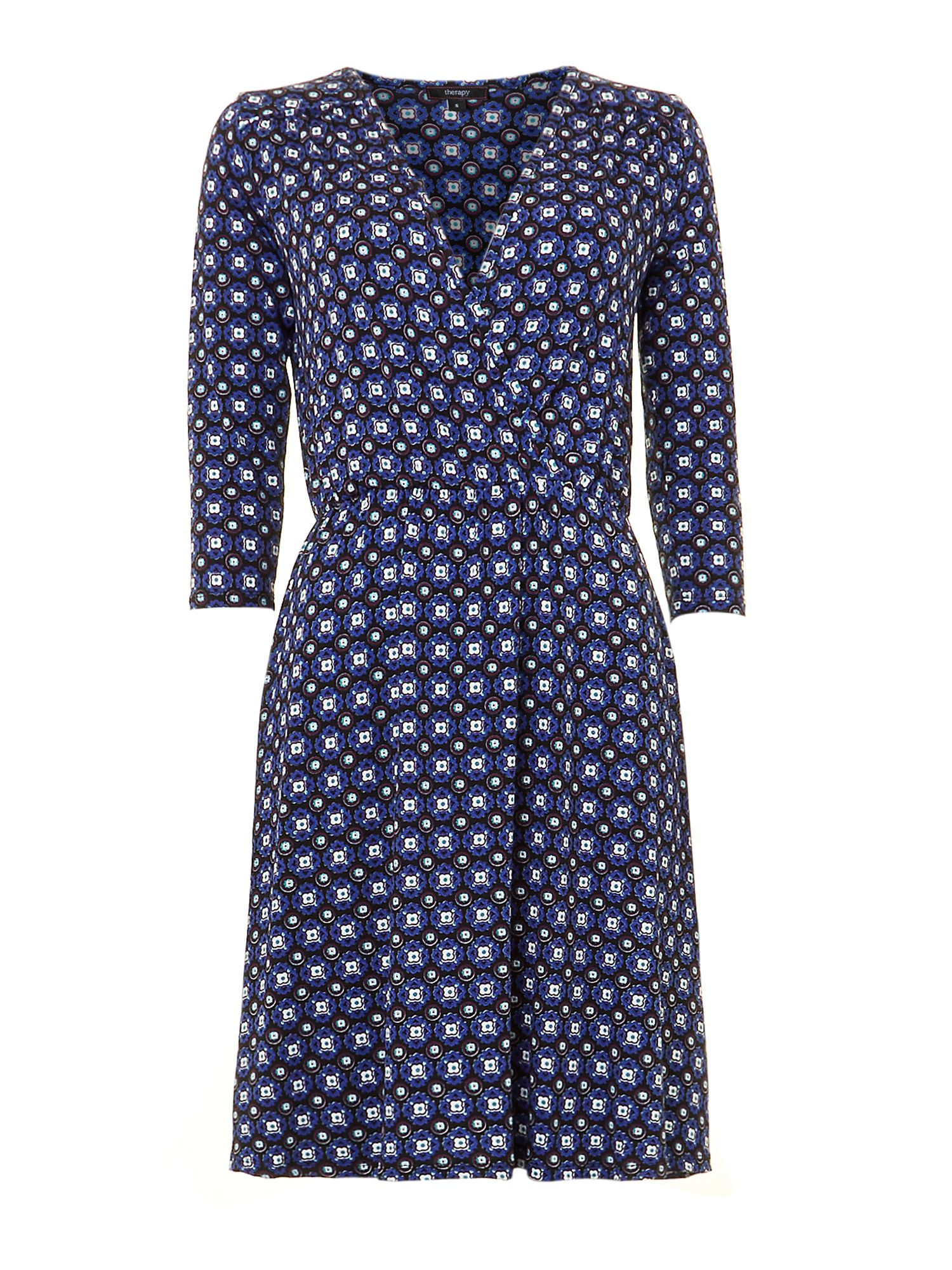 Tile print wrap jersey dress
