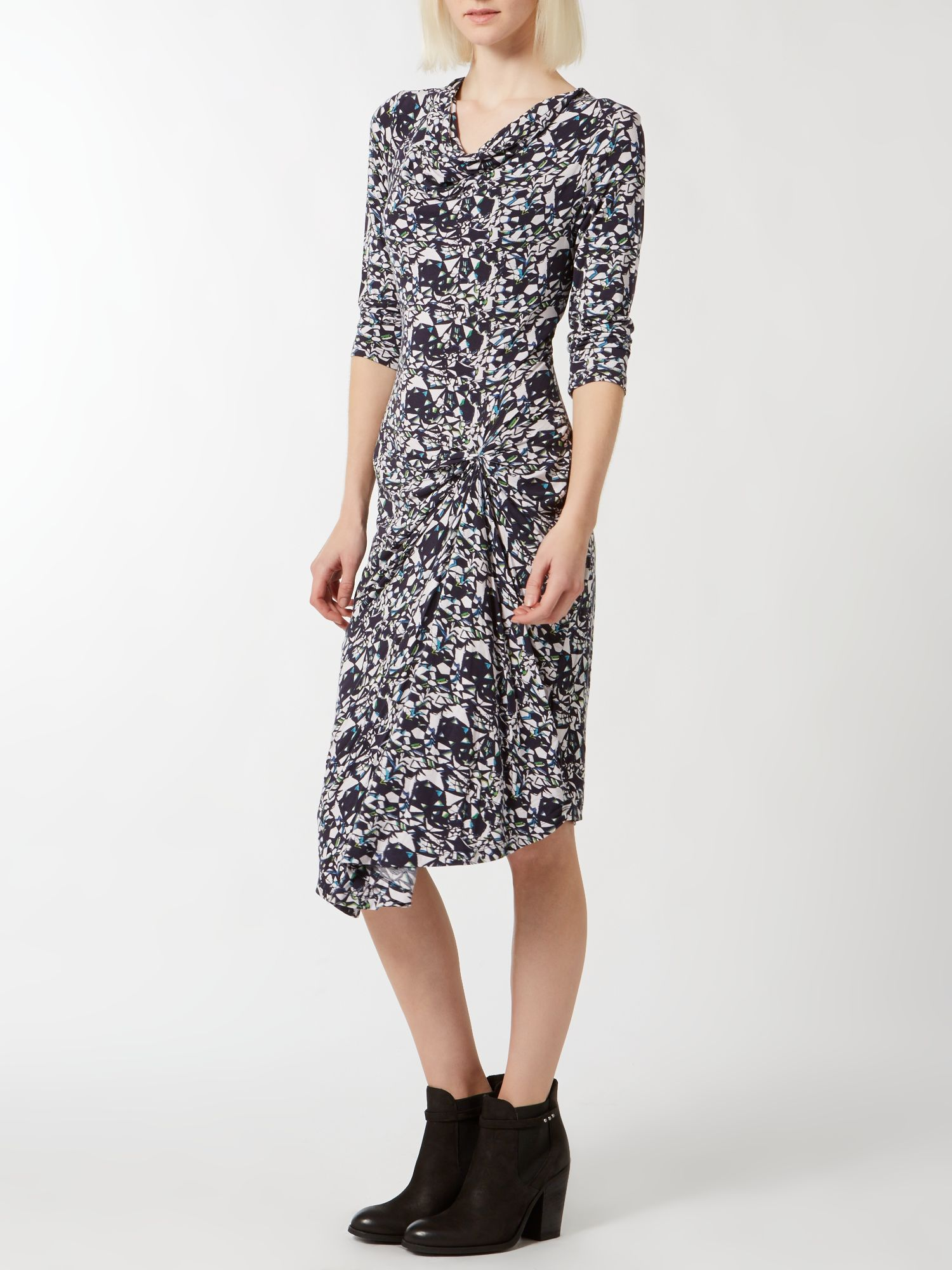 Optical print jersey dress