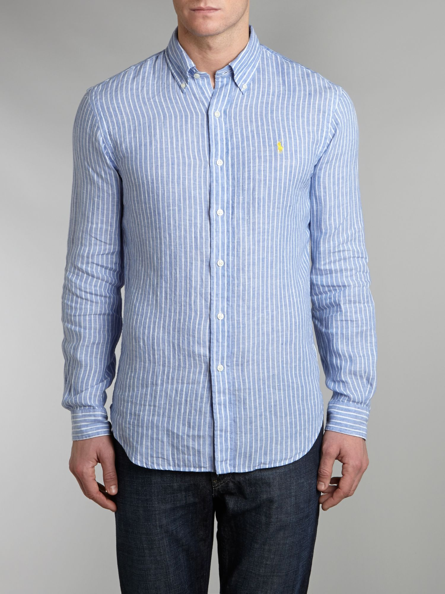 Linen Long Sleeve Stripe Shirt