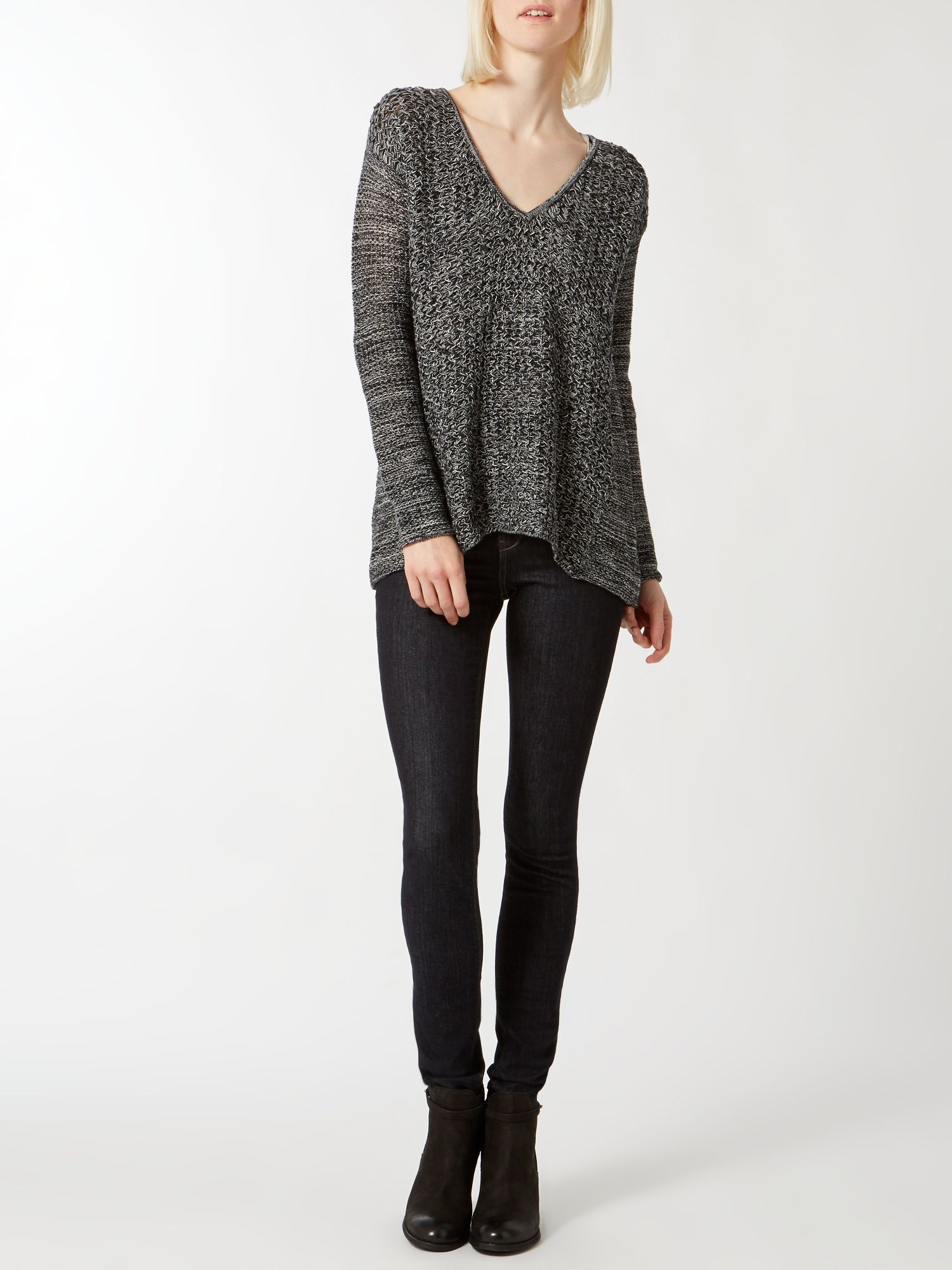 Multi yarn v neck slouchy jumper