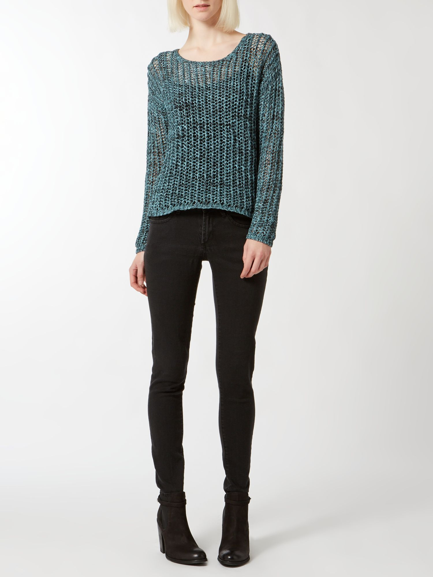 Multi yarn zip back cropped jumper
