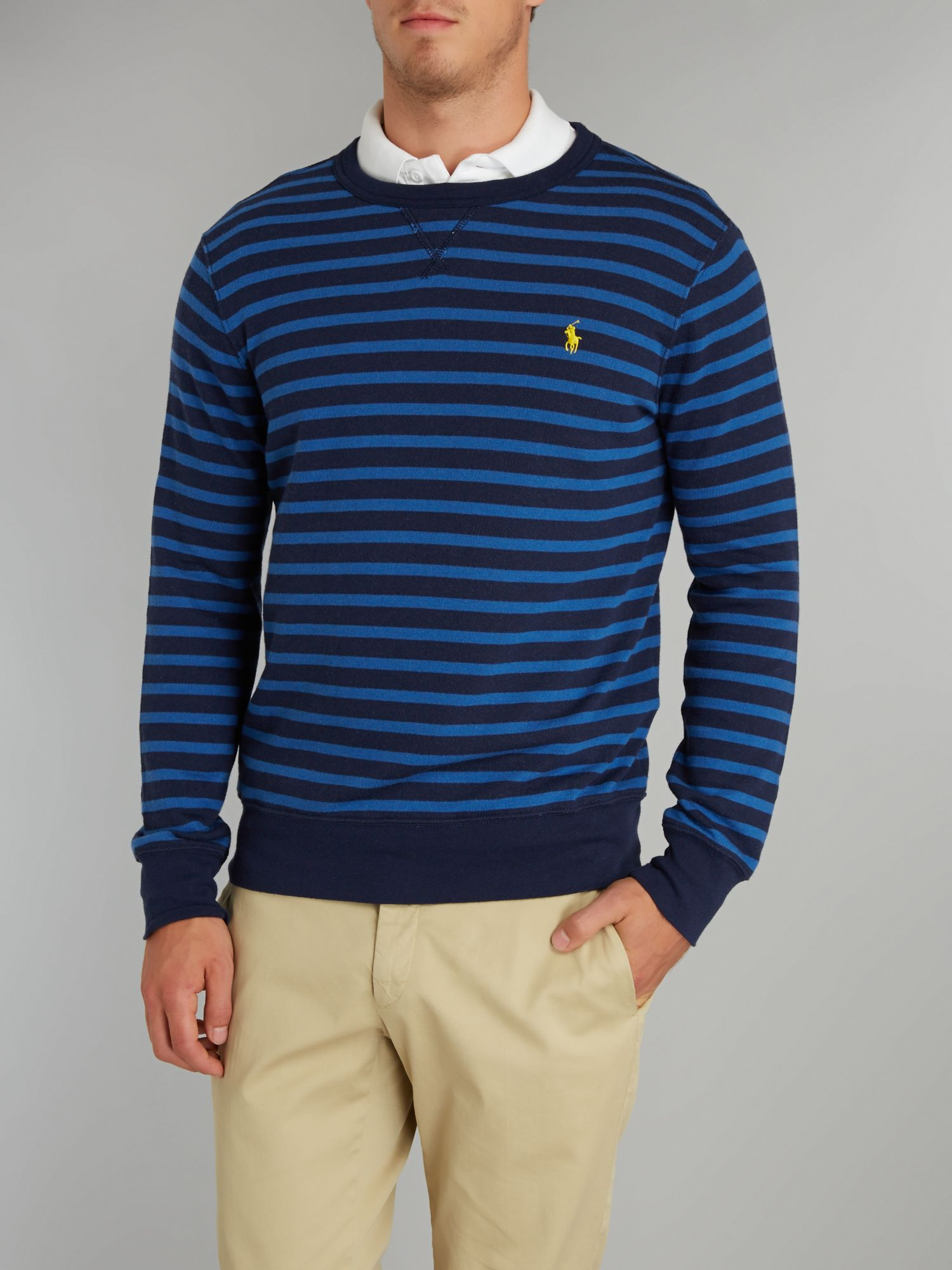Striped crew neck sweatshirt
