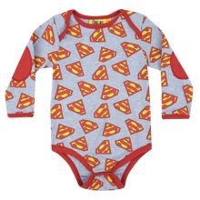 Superman Logo Light Blue Baby All-In-One