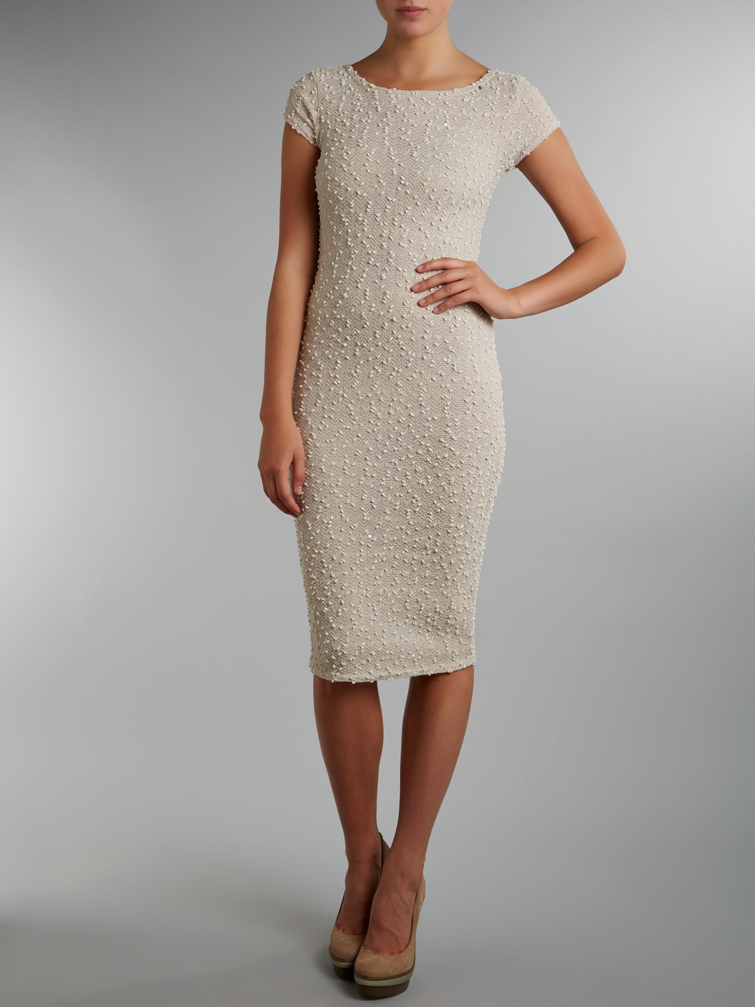 Boucle sequin midi dress