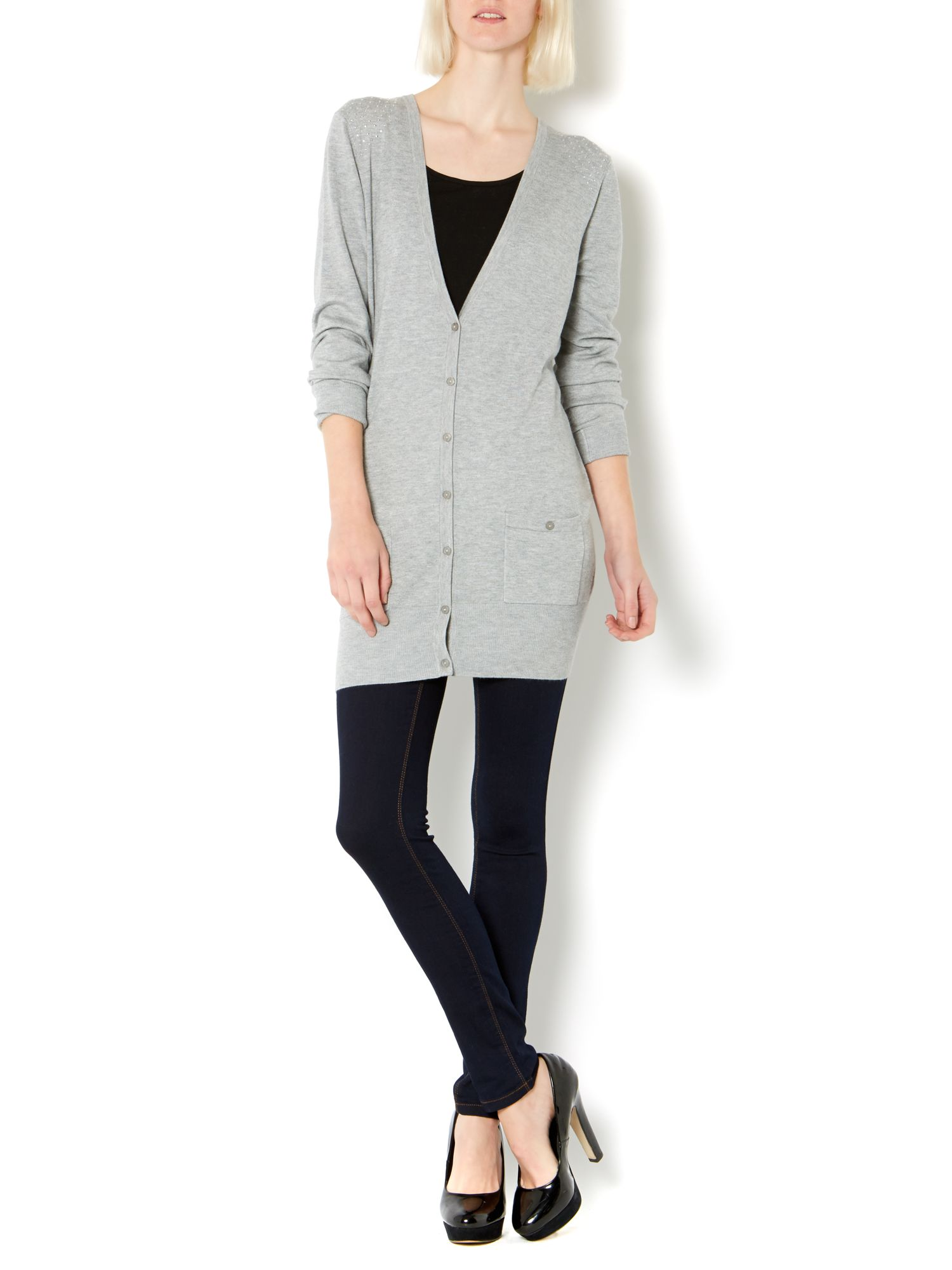 Longline boyfriend cardigan with hot fix studs