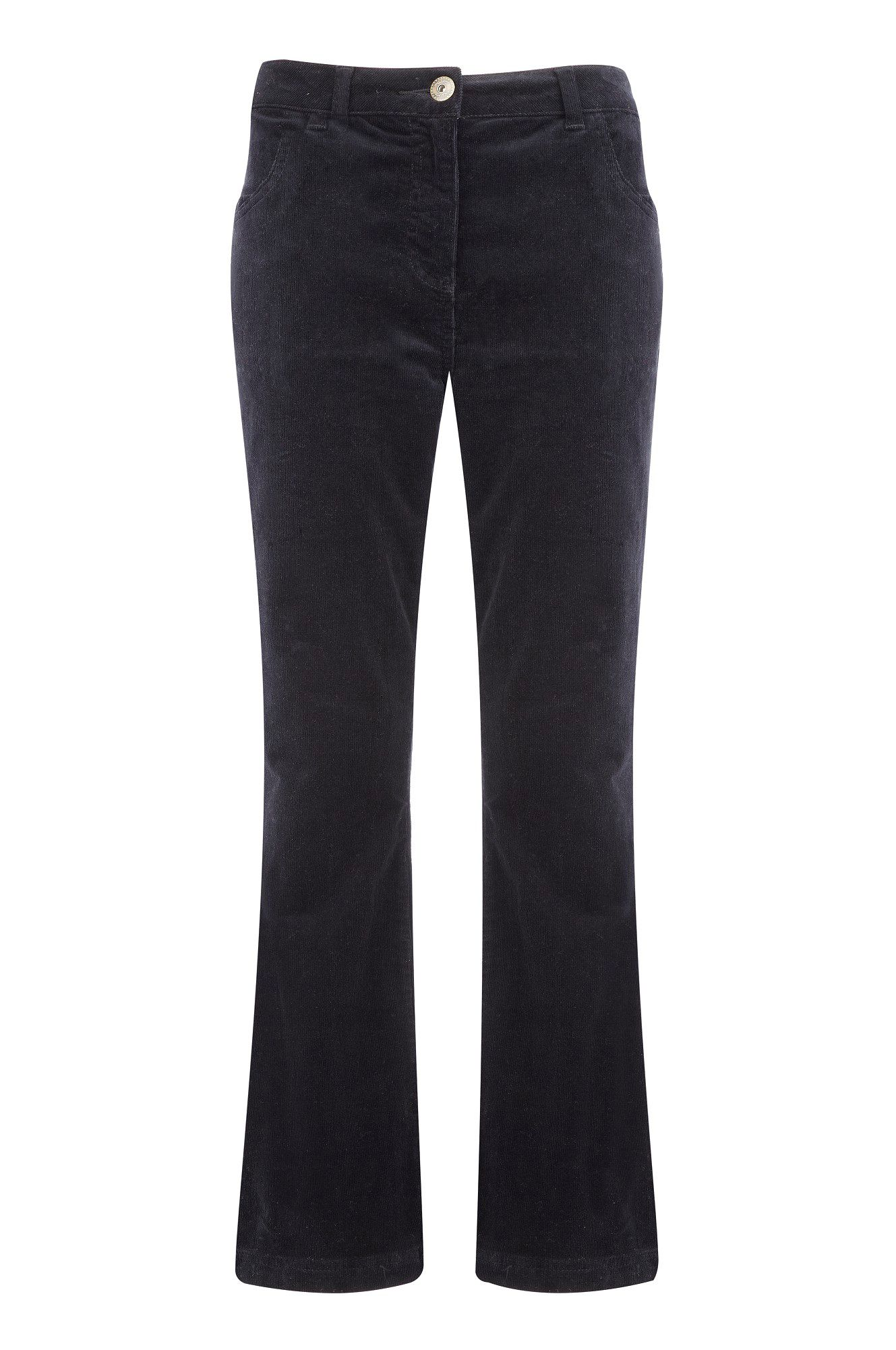 Navy classic leg cord trousers long