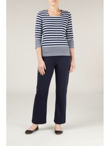 Navy jersey trousers petite