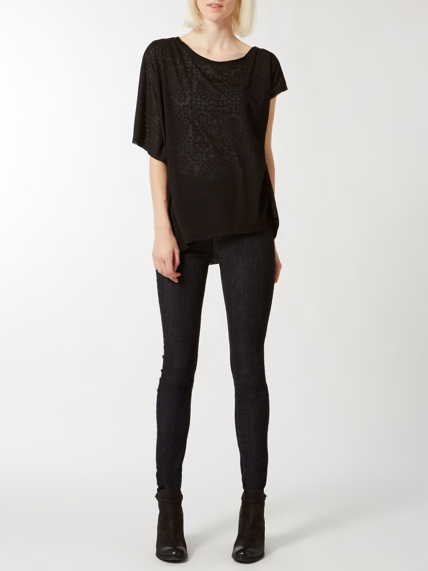 Tile burnout oversized asymmetric tee