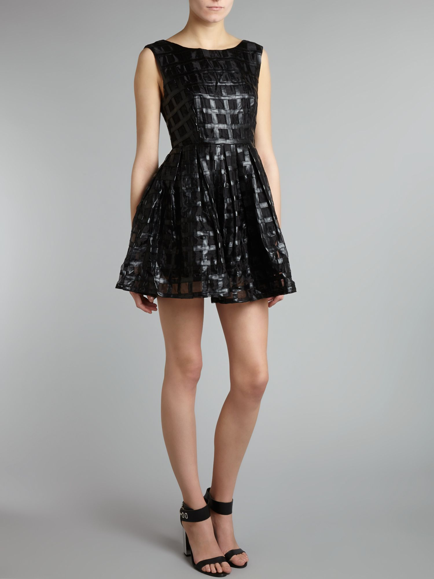 PU cage fit and flare mini dress