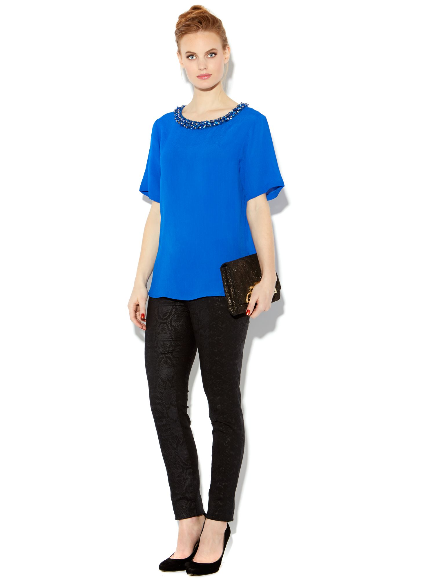 Short sleeve embellished neck blouse