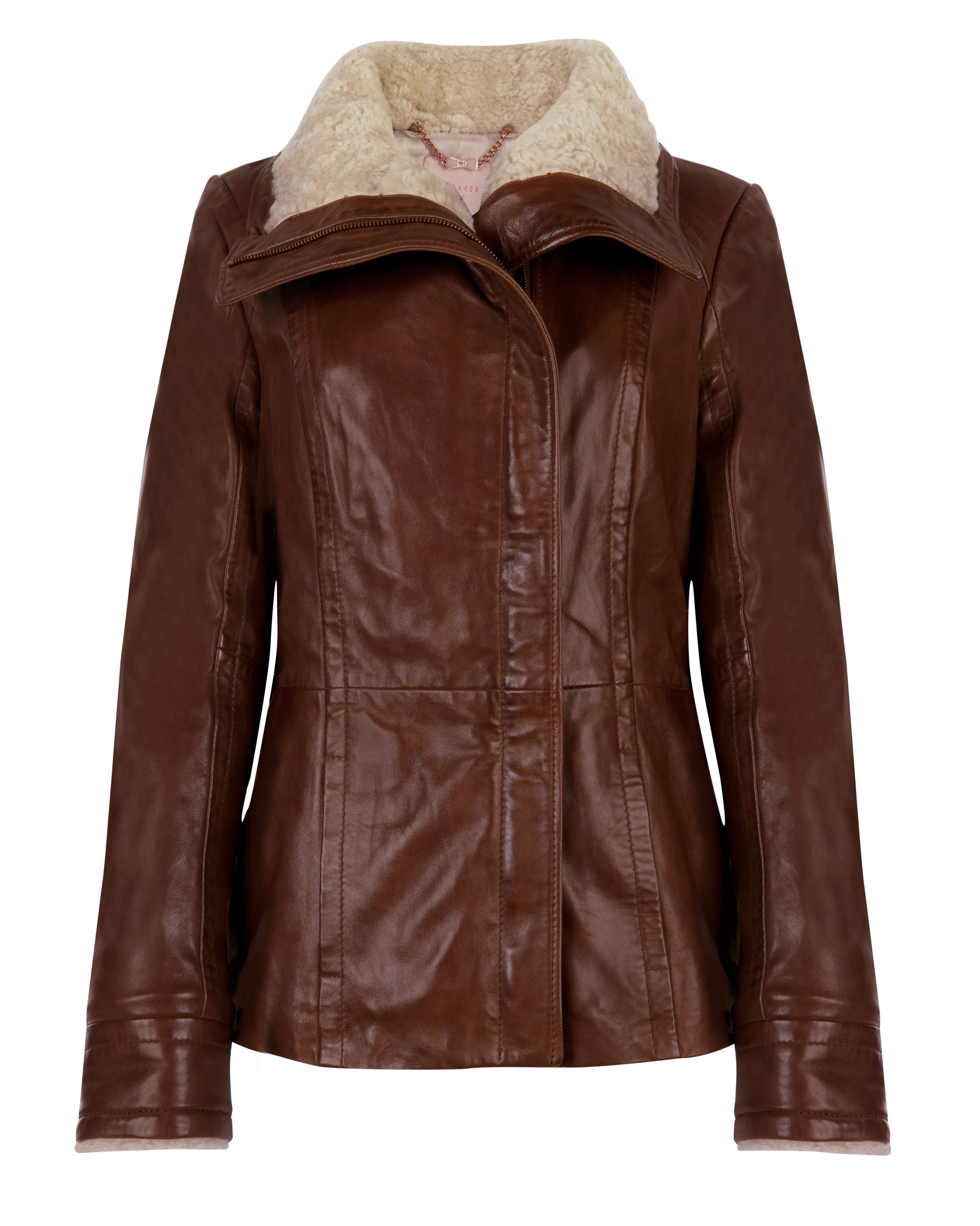 Ted Baker Amilia shearling collar leather jacket, Brown