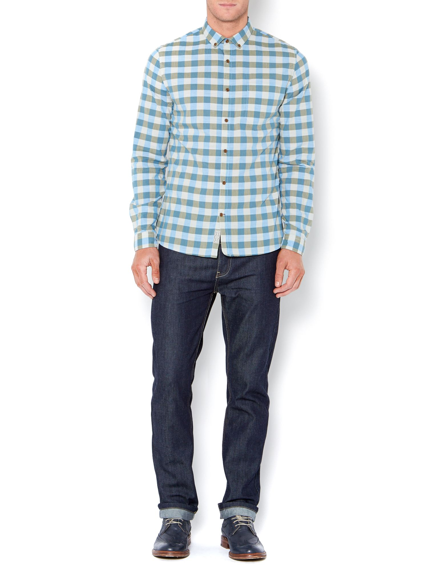 lamy two colour block check long sleeved shirt
