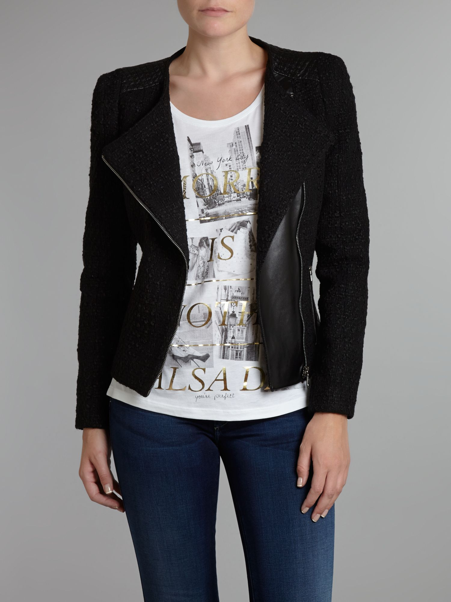 Biker jacket with faux leather trim
