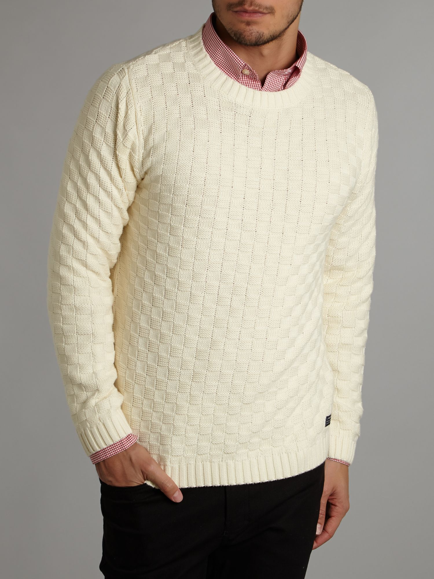 Basket knit crew neck jumper