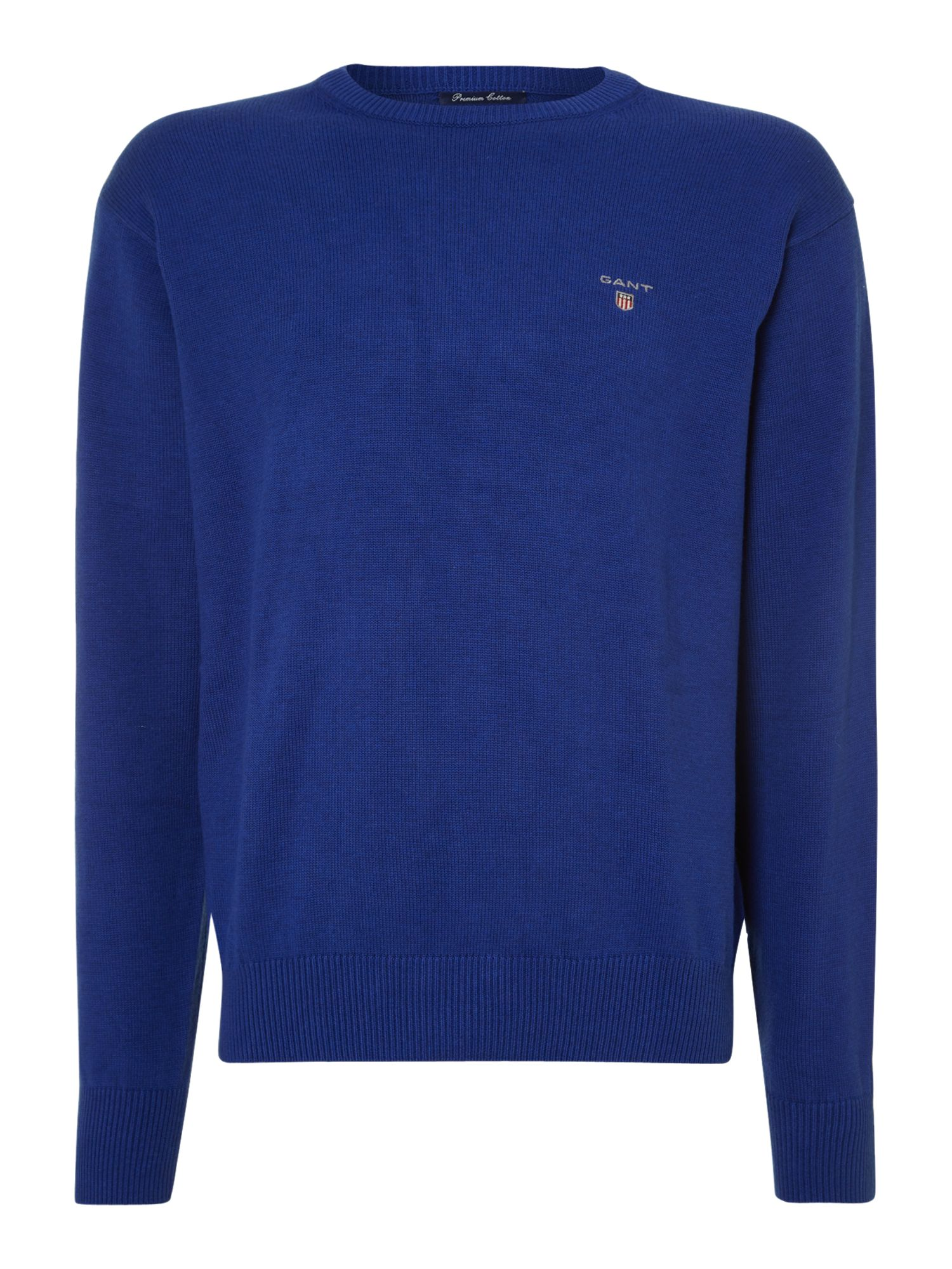 Solid cotton crew neck jumper