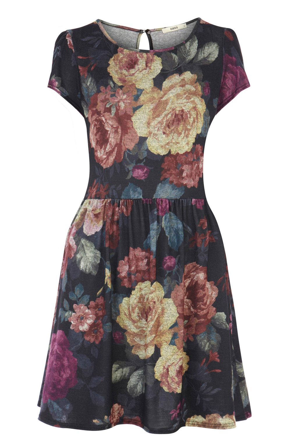 Large floral printed sweat dress