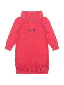 Girl`s pink knitted dress