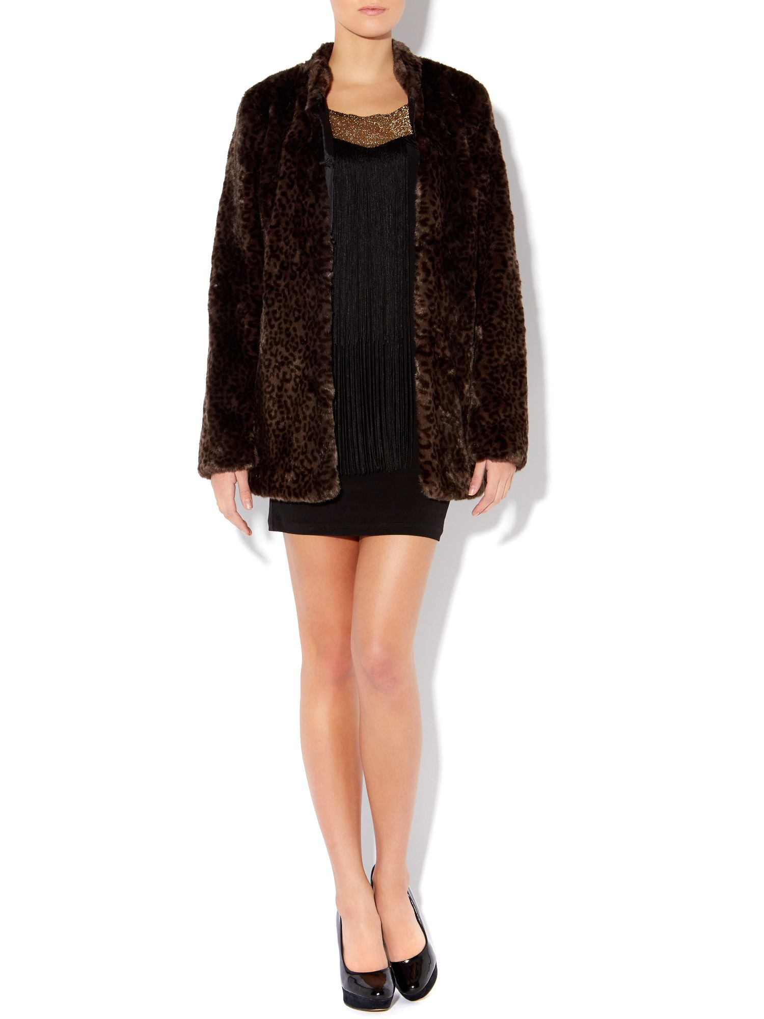 Lounge long sleeve printed faux fur coat