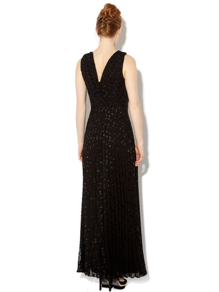 Biba Spot pleated maxi dress with removable brooches