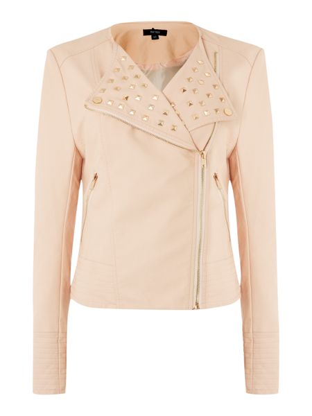 Therapy Faux leather studded biker jacket
