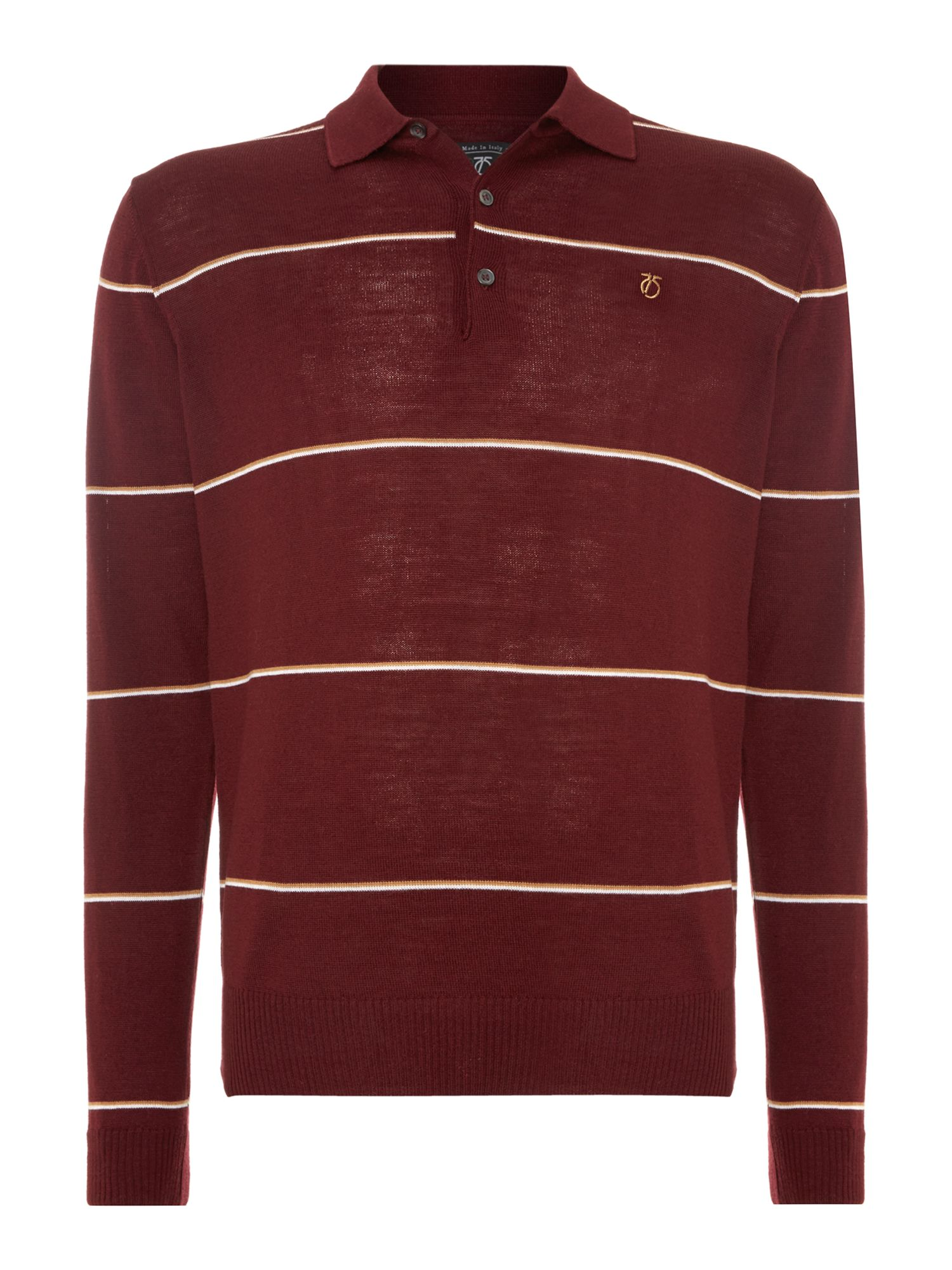 1975 merino hooped knitted polo shirt