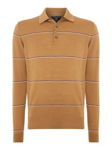 Peter Werth 1975 merino hooped knitted polo shirt