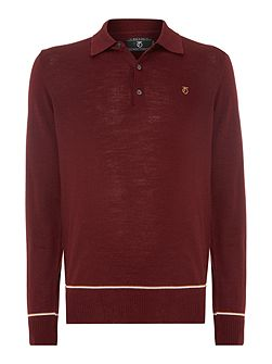 1975 merino tipped knitted polo shirt