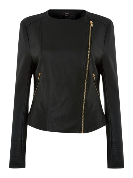 Therapy Faux leather collarless biker jacket