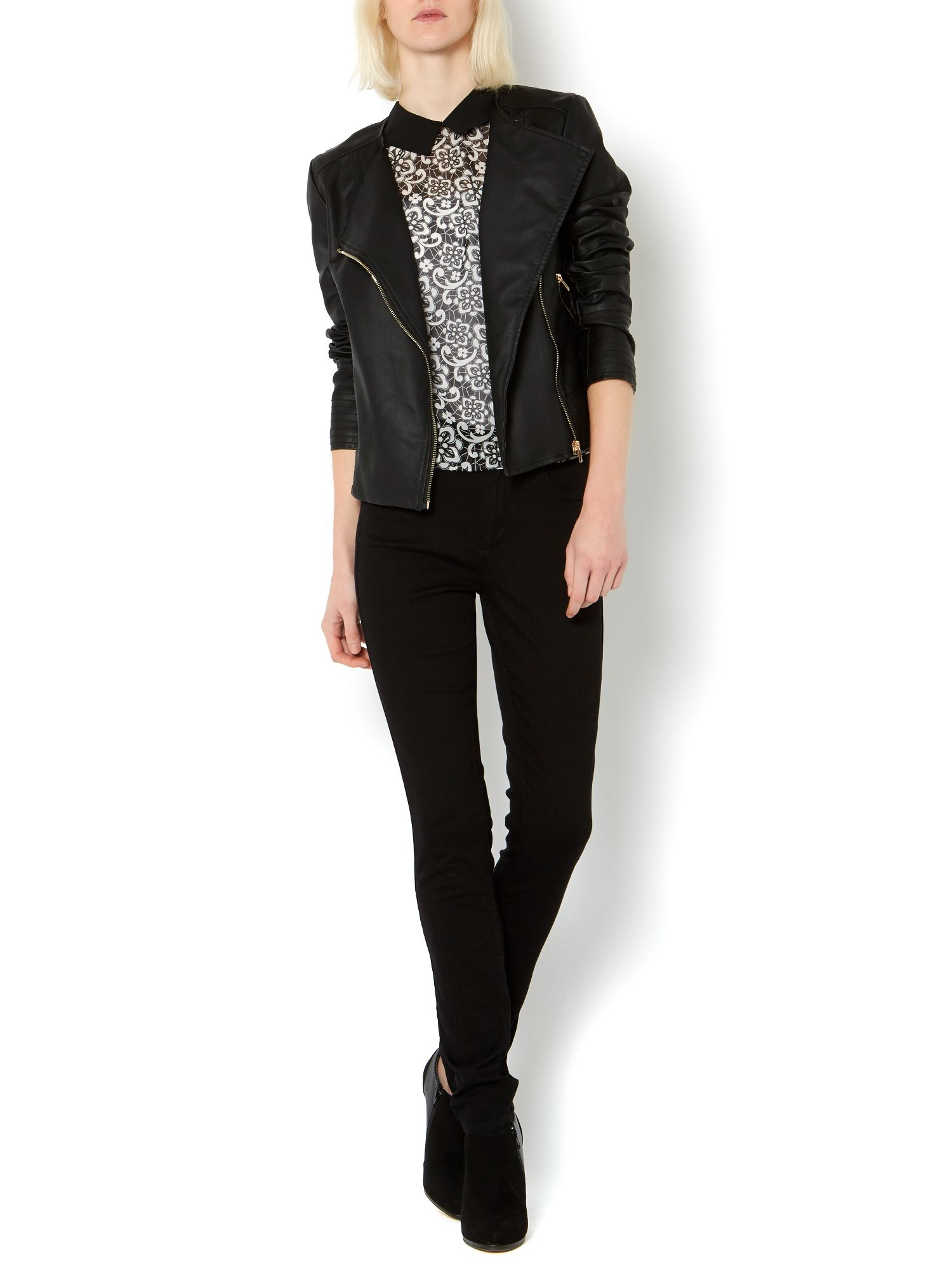 Faux leather collarless biker jacket