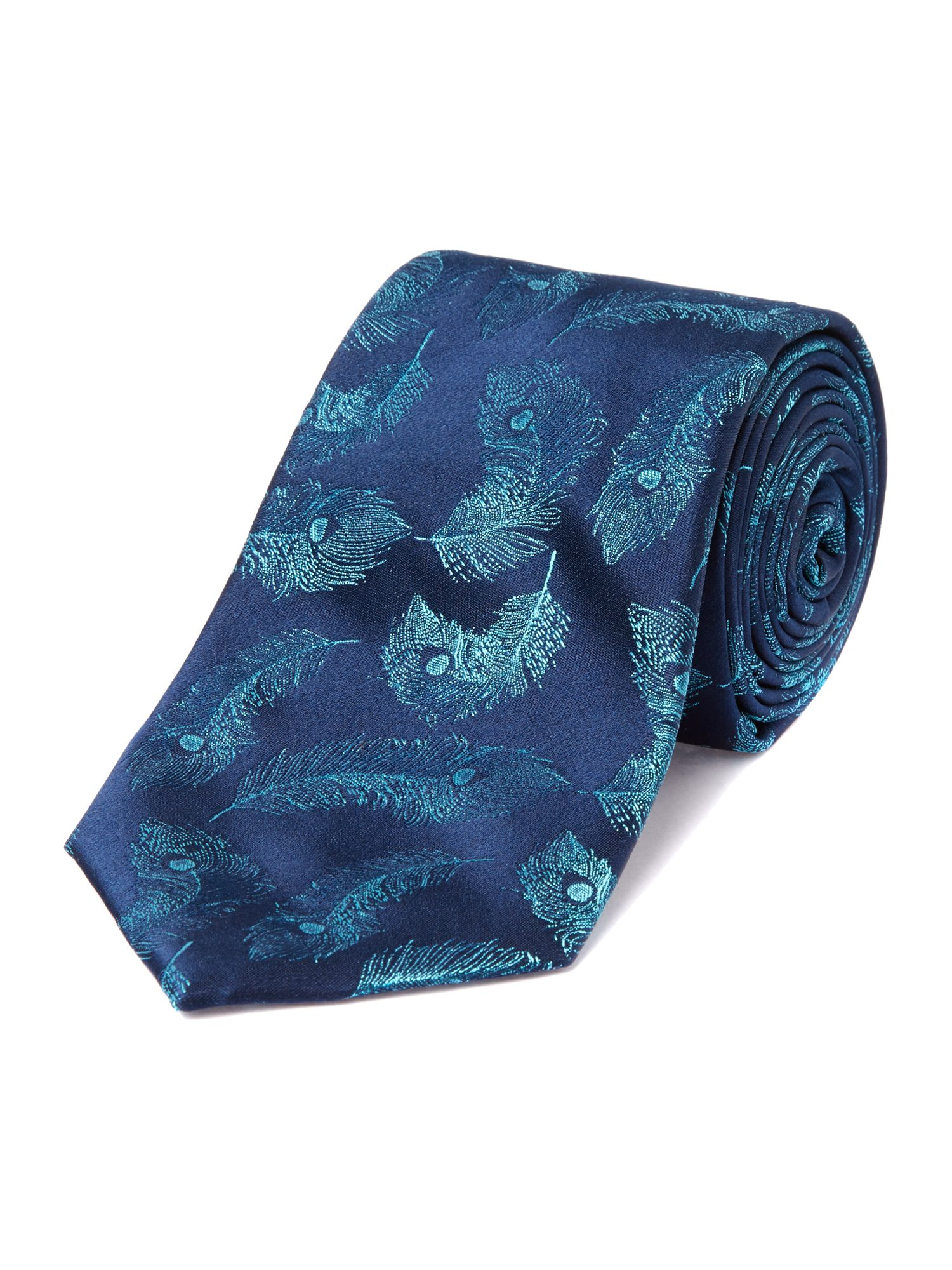 Scope Peacock Feather Silk Tie