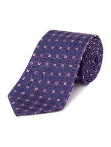 Toutle Squares and Flowers Geo Silk Tie