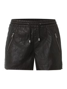 PU drawstring shorts