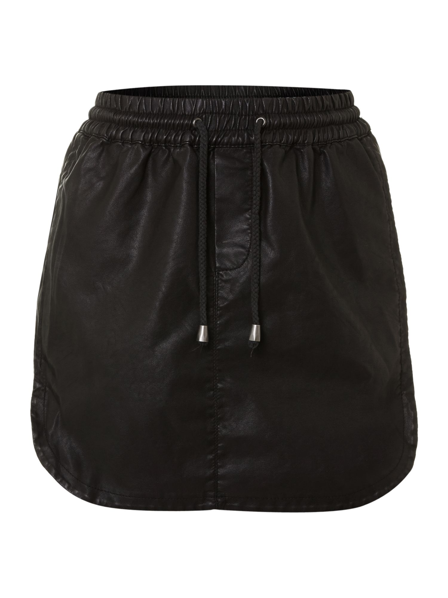 PU drawstring skirt