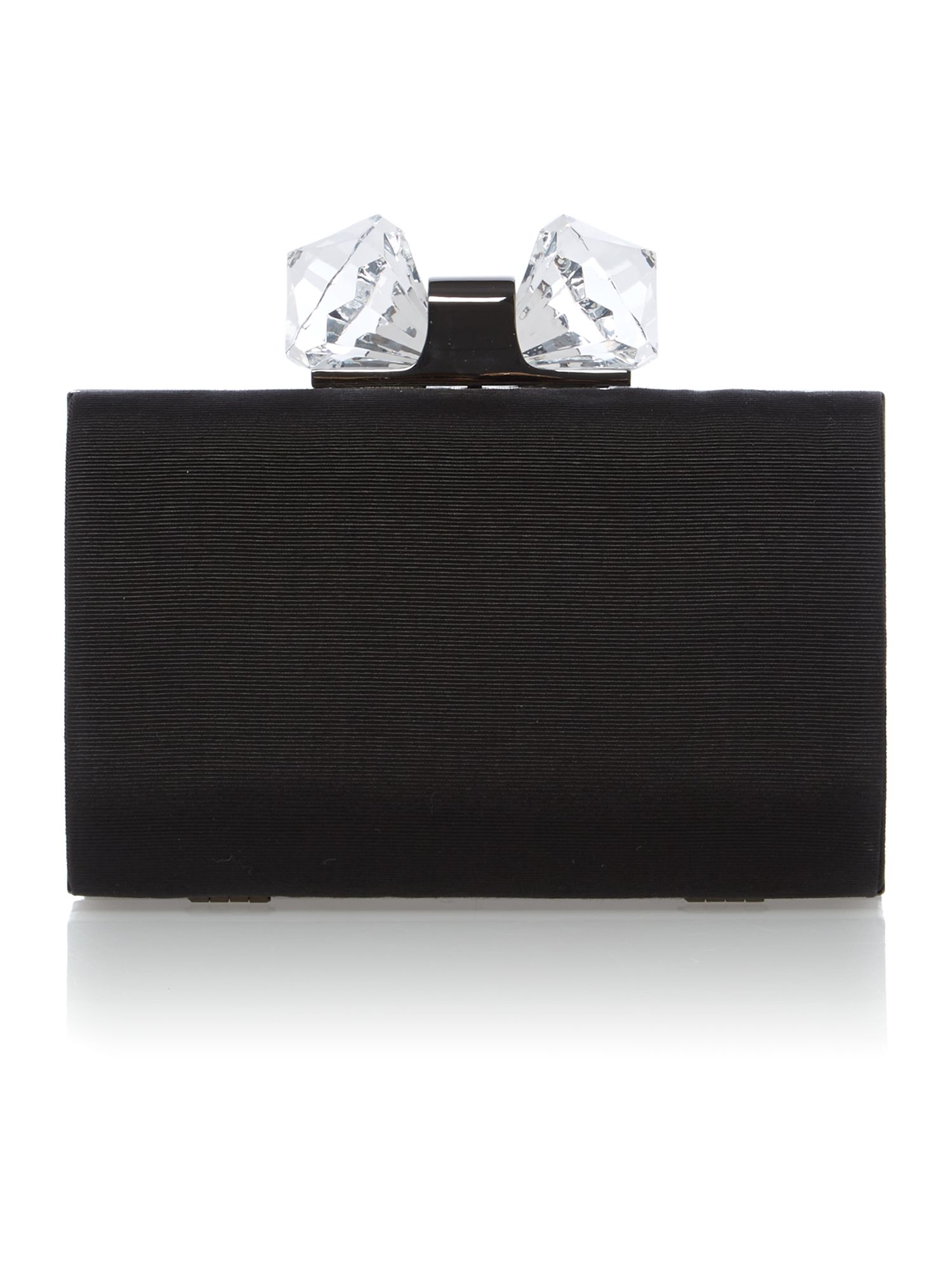 Black small crystal frame hardcase clutch bag