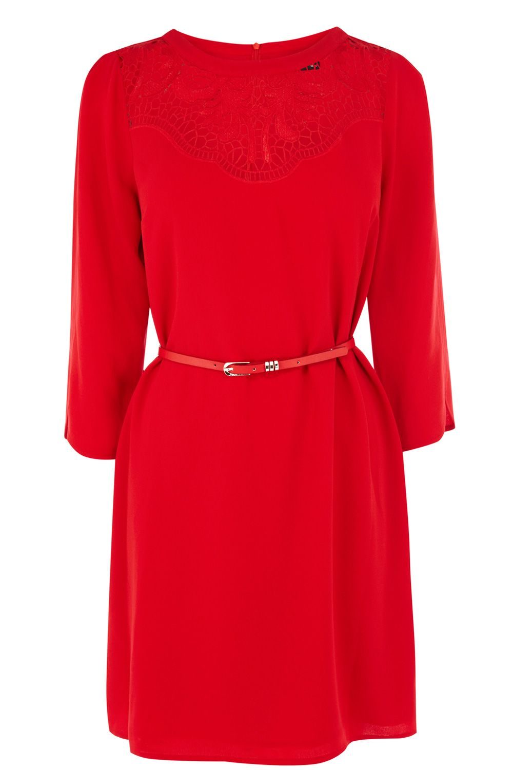 Lace neck ls shift dress