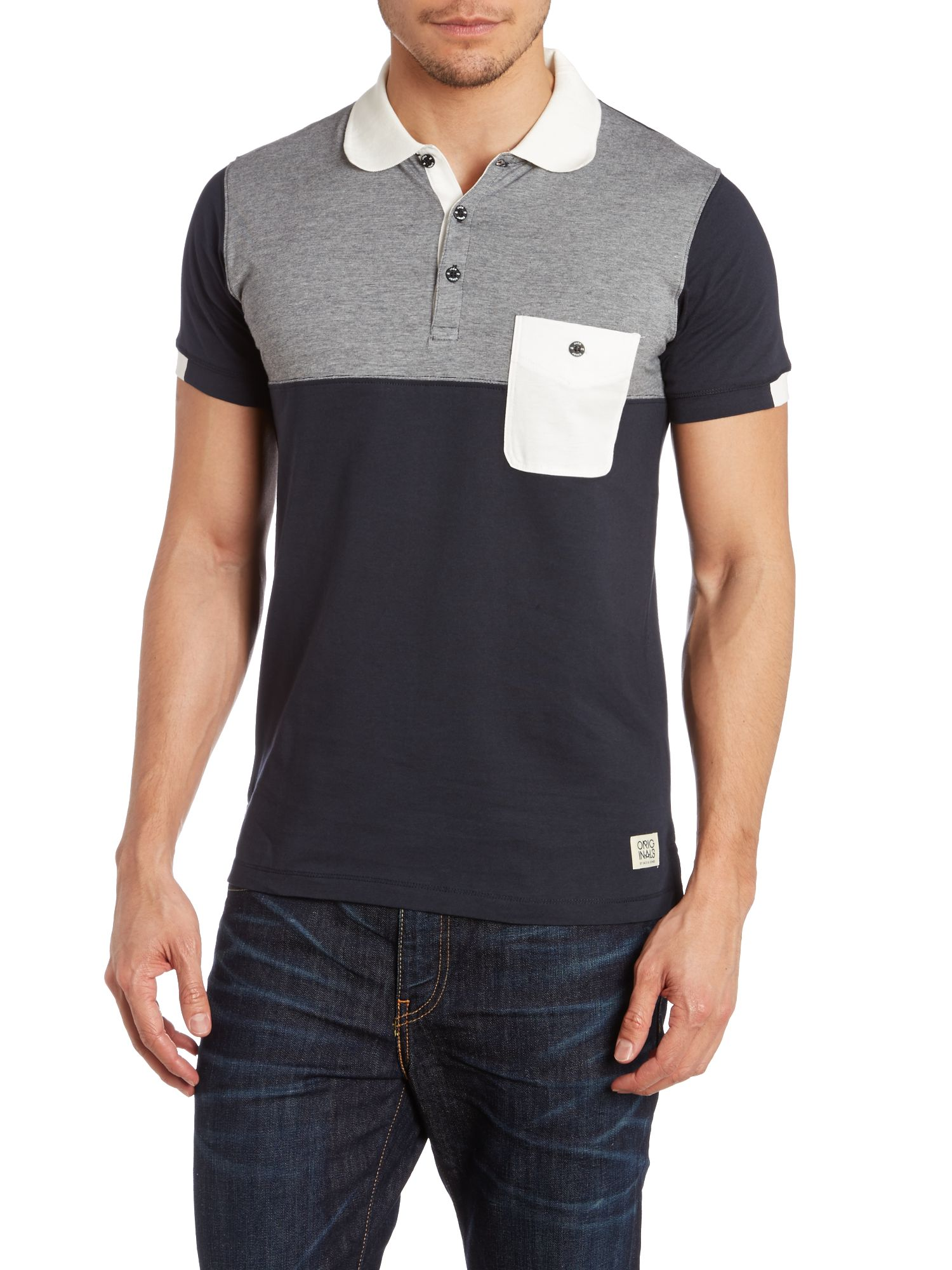Short-sleeved contrast polo