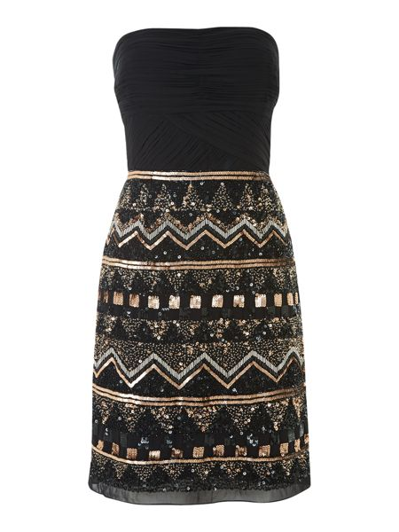 JS Collections Aztec Beaded Strapless Dress